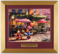 "Thomas Kinkade Walt Disney's ""Mickey & Minnie Mouse in Paris"" 14.5x16 Custom Framed Print Display at PristineAuction.com"