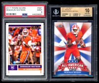 Lot of (2) Graded Deshaun Watson Football Cards with 2017 Leaf Draft All American #AA09 (BGS 10) & 2017 Score #361 RC (PSA 9) at PristineAuction.com