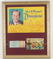 1962 Disneyland Souiviner Guide & Vintage Ticket Book 15x17 Custom Framed Display With Vintage Postcard at PristineAuction.com