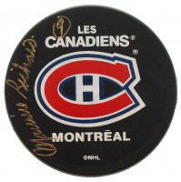 Maurice Richard Signed Canadiens Logo Hockey Puck (Beckett COA) at PristineAuction.com