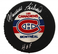 "Maurice Richard Signed Canadiens Logo Hockey Puck Inscribed ""HOF"" (Beckett COA) at PristineAuction.com"