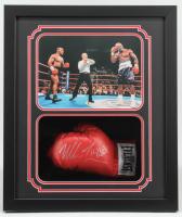 Mike Tyson & Evander Holyfield Signed 22x26x6 Custom Framed Boxing Glove Shadowbox Display (JSA COA & Fiterman Hologram) at PristineAuction.com