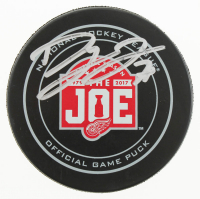 """Dylan Larkin Signed Red Wings """"Farewell To The Joe"""" Official Game Hockey Puck (JSA Hologram) at PristineAuction.com"""