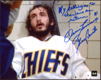 """Yvon Barrette Signed """"Slapshot"""" 8x10 Photo Inscribed """"Denis Lemieux"""" & """"My allergies to the fans has return!"""" (COJO COA) at PristineAuction.com"""