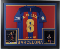 Andres Iniesta Signed 35x43 Custom Framed Jersey (Beckett COA) at PristineAuction.com