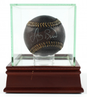 Larry Bird Signed OML Black Leather Baseball with Display Case (PSA COA) at PristineAuction.com