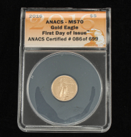 2016 $5 Gold Eagle Coin - First Day Issue (ANACS MS70) at PristineAuction.com