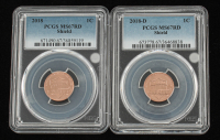Lot of (2) 2018 & 2018 (D) 1 Cent Lincoln Shield Pennies (PCGS MS67RD) at PristineAuction.com