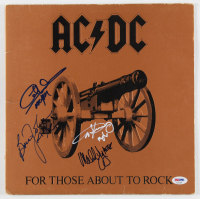 "AC/DC ""For Those About to Rock We Salute You"" Vinyl Record Album Cover Band-Signed by (4) with Angus Young, Malcolm Young, Brian Johnson & Cliff Williams (PSA LOA) at PristineAuction.com"