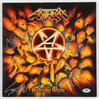"""Anthrax """"Worship Music"""" Vinyl Record Album Cover Band-Signed by (4) with Charlie Benante, Scott Ian, Joey Belladonna & Frank Bello (PSA LOA) at PristineAuction.com"""