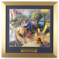 "Thomas Kinkade Walt Disney's ""Beauty and the Beast"" 16x16 Custom Framed Print Display at PristineAuction.com"