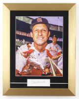 Stan Musial Signed 14x15 Custom Framed Textured Art Print Display (JSA COA) at PristineAuction.com