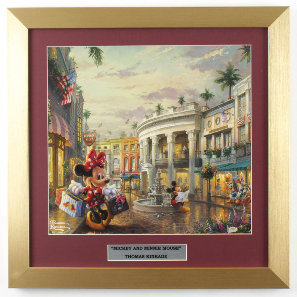 "Thomas Kinkade ""Minnie Mouse Shopping in Beverly Hills"" 16x16 Custom Framed Print Display at PristineAuction.com"