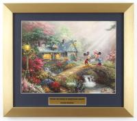 "Thomas Kinkade ""Mickey & Minnie on Sweetheart Bridge"" 14x16 Custom Framed Print Display at PristineAuction.com"