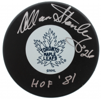 """Allan Stanley Signed Maple Leafs Logo Hockey Puck Inscribed """"HOF 81"""" (JSA COA) at PristineAuction.com"""