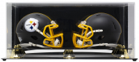 Deluxe Acrylic Full-Size Double Mini-Helmet Display Case Black Base at PristineAuction.com
