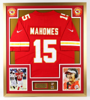 Patrick Mahomes Chiefs 32.5x36 Custom Framed Jersey Display With Super Bowl LIV Champions Pin at PristineAuction.com