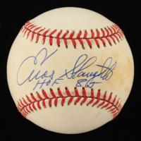 """Enos Slaughter Signed ONL Baseball Inscribed """"HOF 85"""" (JSA COA) at PristineAuction.com"""