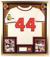 Hank Aaron Signed 32x36 Custom Framed Cut Display with Original 1968 500th Home Run Lapel Pin (PSA COA) at PristineAuction.com