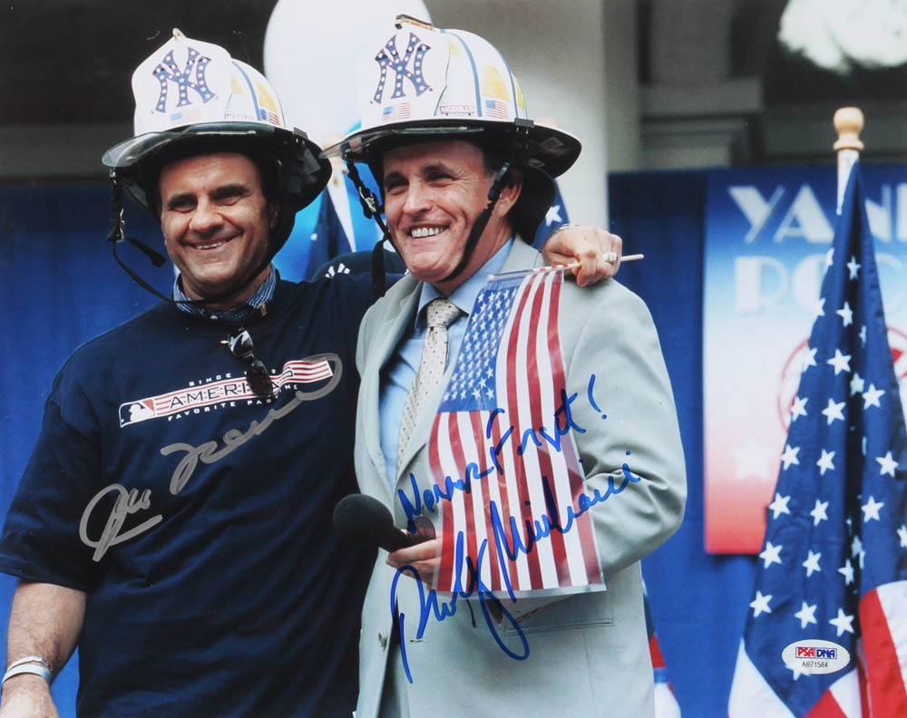 """Joe Torre & Rudy Giuliani Signed 11x14 Photo Inscribed """"Never Forget!"""" (PSA Hologram) at PristineAuction.com"""