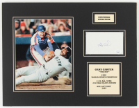 Gary Carter Signed Mets 14x18 Custom Matted Index Card Display with Photo (JSA COA) at PristineAuction.com