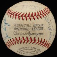 ONL Baseball Signed by (28) with Leo Durocher, Ernie Banks, Fergie Jenkins, J.C. Martin, Cleo James (JSA ALOA) at PristineAuction.com
