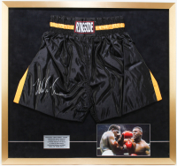 Mike Tyson Signed 30x32 Custom Framed Boxing Shorts Display (PSA COA) at PristineAuction.com
