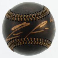 """Ronald Acuna Jr. Signed OML Black Leather Baseball Inscribed """"NL ROY 2018"""" (Beckett COA) at PristineAuction.com"""