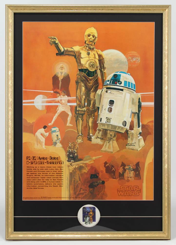 "Vintage 1977 Star Wars Coca-Cola ""R2-D2 & C-3PO"" 23x32 Custom Framed Poster Display with Original 1977 Star Wars Lapel Pin at PristineAuction.com"