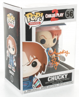 "Ed Gale Signed ""Child's Play 2"" #56 Chucky Funko Pop! Vinyl Figure Inscribed ""Chucky"" (PSA COA) at PristineAuction.com"