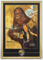 "Vintage 1977 Star Wars Coca-Cola ""Chewbacca"" 22x31 Custom Framed Poster Display with Original 1977 Star Wars Lapel Pin at PristineAuction.com"