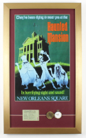 "Disneyland ""Haunted Mansion"" 15x25 Custom Framed Print Display with Original Haunted Mansion Clock & Ride Ticket at PristineAuction.com"