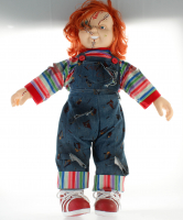 "Ed Gale Signed ""Bride of Chucky"" Spirit Halloween Chucky Doll Inscribed ""Chucky"" (PSA COA) at PristineAuction.com"