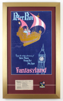 "Disneyland ""Fantasy Land"" 15x25 Custom Framed Poster Display with 1960's ""C"" Ride Ticket & ""Peter Pan's Flight"" Pin at PristineAuction.com"