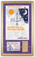 "Walt Disney's ""Walt Disney World"" 15x25 Custom Framed Vintage Advertising Sign Display with Vintage Photo Portfolio & Parking Pass at PristineAuction.com"