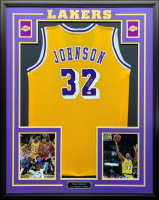 Magic Johnson Signed 34.5x42.5 Custom Framed Jersey (Magic Johnson Beckett COA) at PristineAuction.com