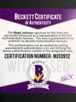 Magic Johnson Signed 34.5x42.5 Custom Framed Jersey (Magic Johnson Beckett COA) at PristineAuction.com