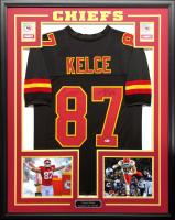 Travis Kelce Signed 34.5x42.5 Custom Framed Jersey (Beckett COA) at PristineAuction.com