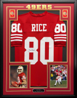 Jerry Rice Signed 34.5x42.5 Custom Framed Jersey (Beckett COA) at PristineAuction.com