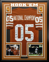 2005 National Championship 34.5x42.5 Custom Framed Jersey Display Team-Signed by Vince Young, Mack Brown, Jordan Shipley (JSA COA) at PristineAuction.com