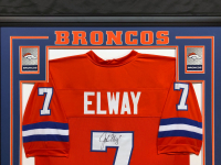 John Elway Signed 34.5x42.5 Custom Framed Stat Jersey (Beckett COA) at PristineAuction.com