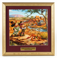 "Thomas Kinkade Walt Disney's ""Mickey and Minnie on Safari"" 15.5x15.5 Custom Framed Print Display at PristineAuction.com"