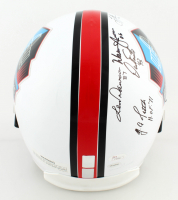 Pro Football Hall Of Fame Full-Size Helmet Signed by (7) With Dermontti Dawson, Y. A. Tittle, Warren Moon, Dan Fouts, Troy Aikman, Dan Marino & Bob Griese with HOF Year Inscriptions (JSA LOA) at PristineAuction.com