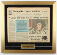"Elvis Presley ""Memphis Press-Scimitar"" 18x19 Custom Framed Original Death Day Newspaper Display at PristineAuction.com"
