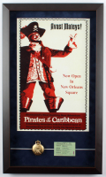 """""""Pirates of the Caribbean"""" 15x25 Custom Framed Photo Display with Vintage Pocket Watch & E Ride Ticket at PristineAuction.com"""