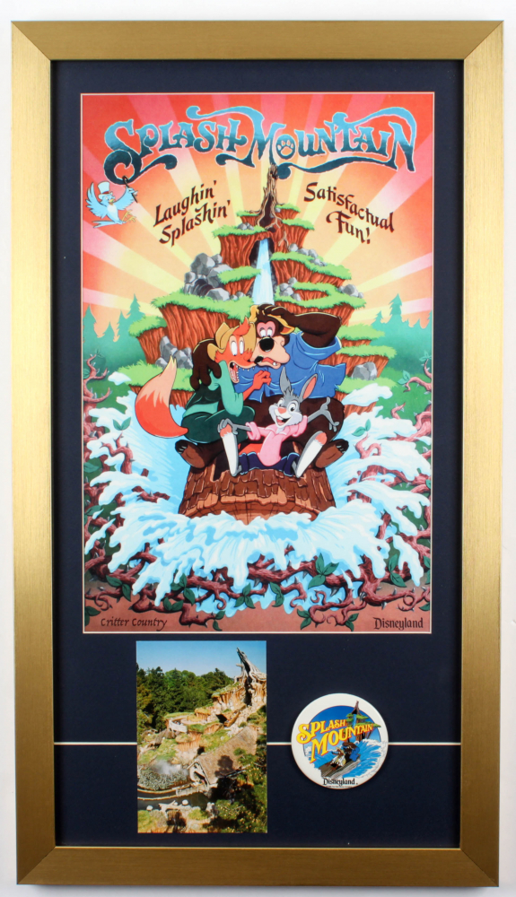 """""""Splash Mountain"""" 15x26.5 Custom Framed Poster Display with 1988 Opening Day Lapel Pin & Vintage Postcard at PristineAuction.com"""