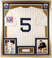 Joe DiMaggio Signed 32x36 Custom Framed Cut Display with Jersey & Yankees Patches (PSA LOA) at PristineAuction.com