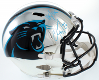"Christian McCaffrey Signed Panthers Full-Size Chrome Speed Helmet Inscribed ""1k/1k"" (Beckett COA) at PristineAuction.com"