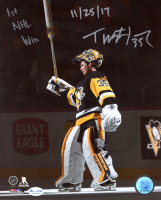"""Tristan Jarry Penguins Signed 8x10 Photo Inscribed """"1st NHL Win"""" & """"11/25/17"""" (ReichPM COA) at PristineAuction.com"""