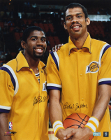 Magic Johnson & Kareem Abdul-Jabbar Signed Lakers 16x20 Photo (Radtke COA) at PristineAuction.com